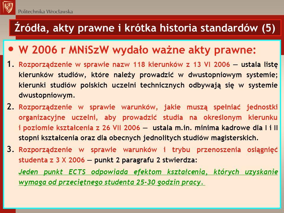 Źródła, akty prawne i krótka historia standardów (5)