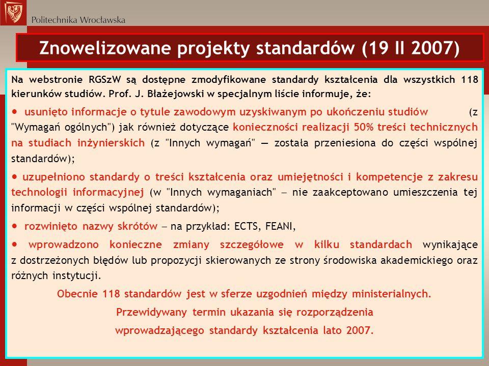 Znowelizowane projekty standardów (19 II 2007)