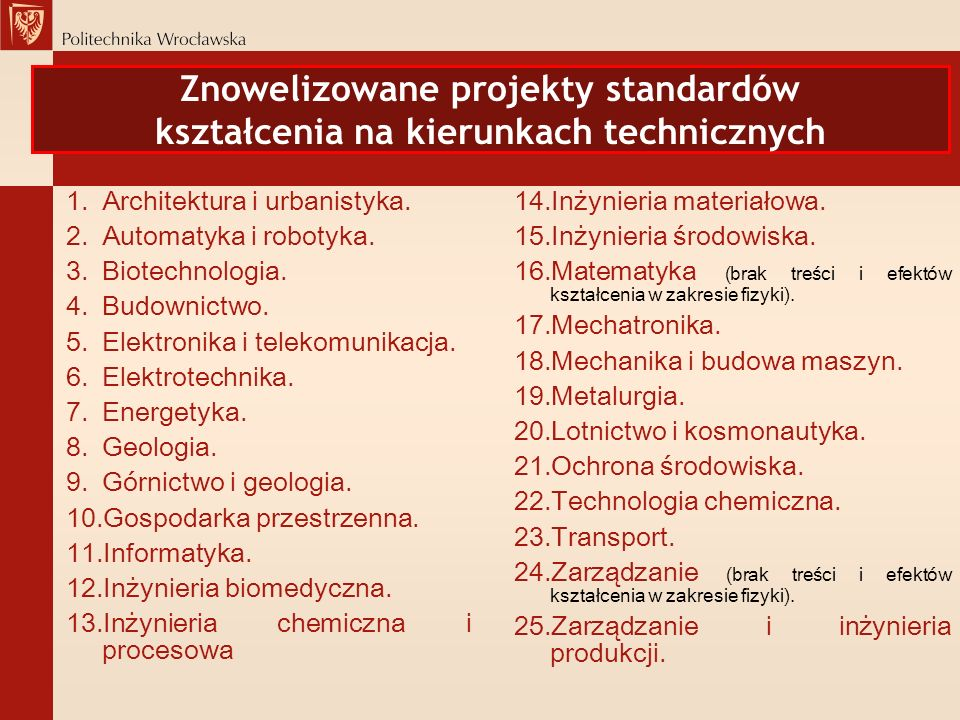 Znowelizowane projekty standardów kształcenia na kierunkach technicznych