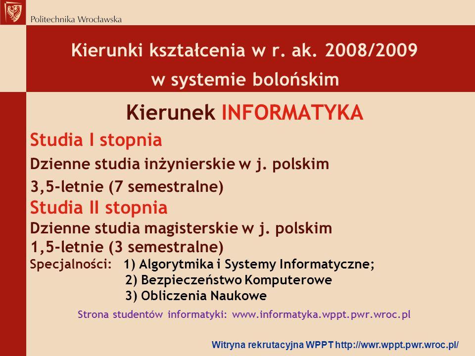 Kierunek INFORMATYKA Kierunki kształcenia w r. ak. 2008/2009