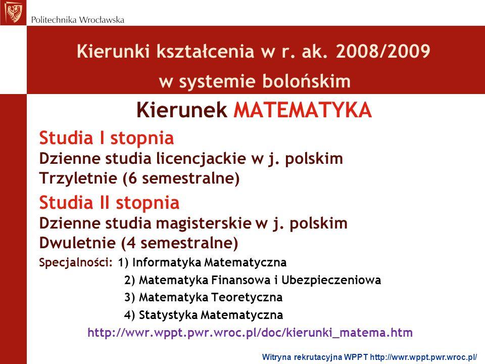 Kierunek MATEMATYKA Kierunki kształcenia w r. ak. 2008/2009