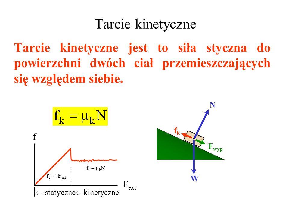 Tarcie kinetyczne Tarcie kinetyczne jest to siła styczna do powierzchni dwóch ciał przemieszczających się względem siebie.