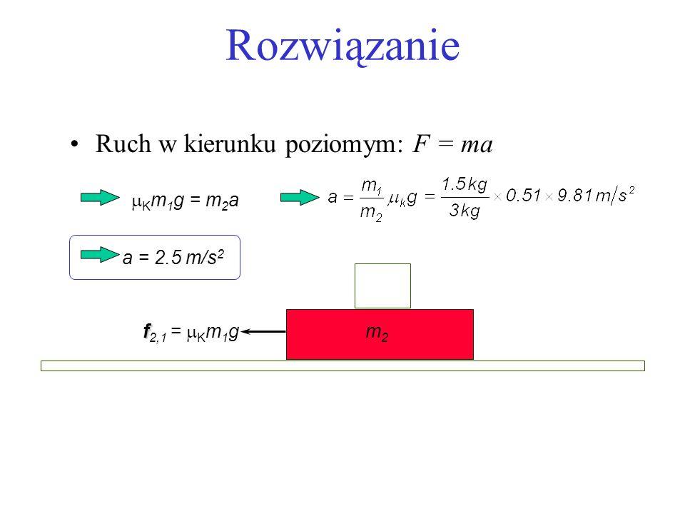 Rozwiązanie Ruch w kierunku poziomym: F = ma mKm1g = m2a a = 2.5 m/s2