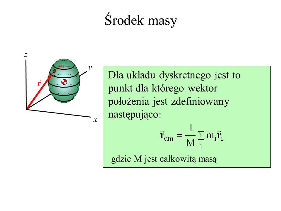 Środek masy z. mi. y. Dla układu dyskretnego jest to punkt dla którego wektor położenia jest zdefiniowany następująco: