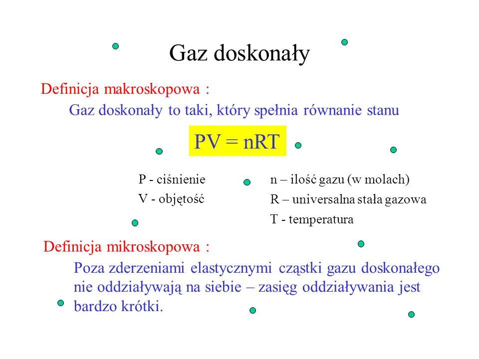 Gaz doskonały PV = nRT Definicja makroskopowa :