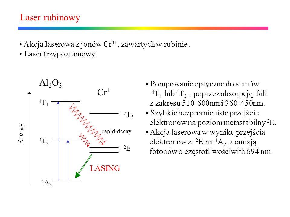 Laser rubinowy Akcja laserowa z jonów Cr3+, zawartych w rubinie . Laser trzypoziomowy. Al2O3.