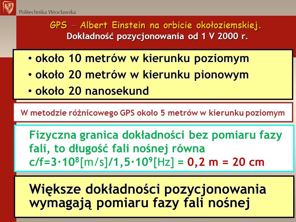 W metodzie różnicowego GPS około 5 metrów w kierunku poziomym