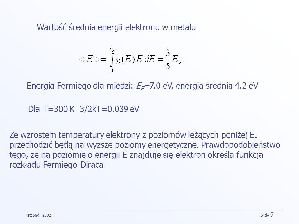 Wartość średnia energii elektronu w metalu