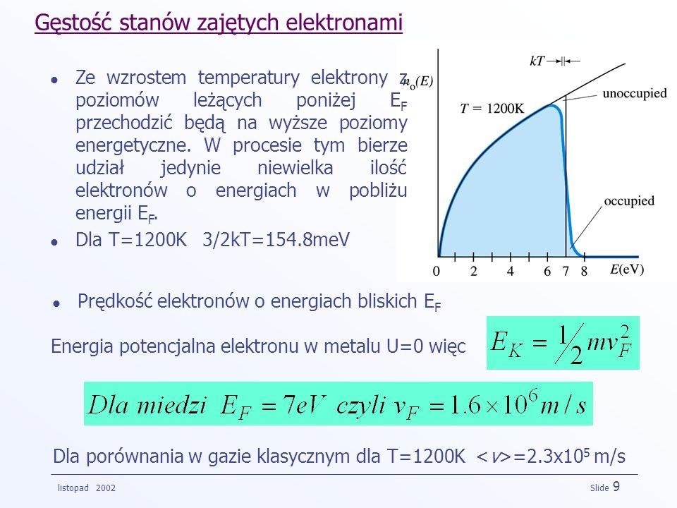 Gęstość stanów zajętych elektronami