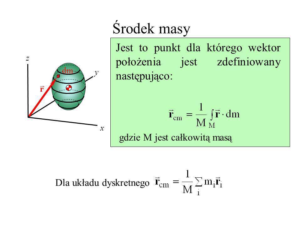 Środek masy Jest to punkt dla którego wektor położenia jest zdefiniowany następująco: gdzie M jest całkowitą masą.