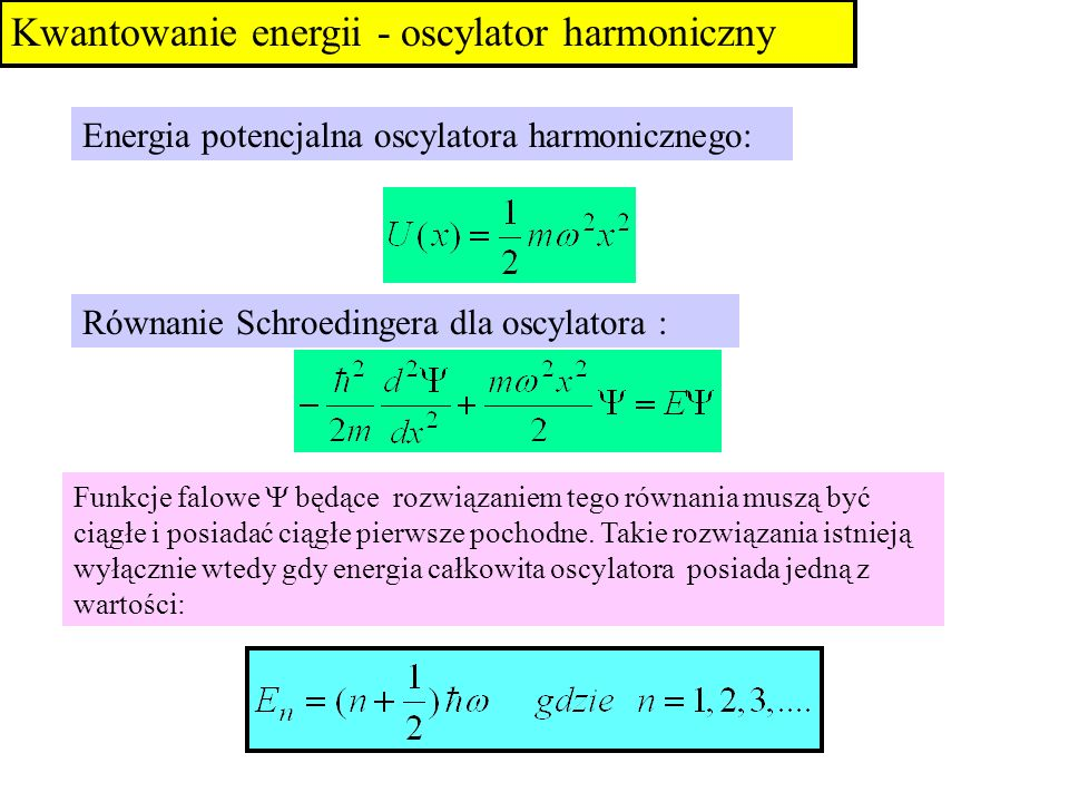 Kwantowanie energii - oscylator harmoniczny