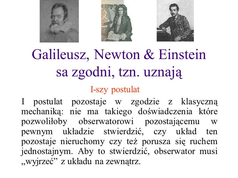 Galileusz, Newton & Einstein sa zgodni, tzn. uznają