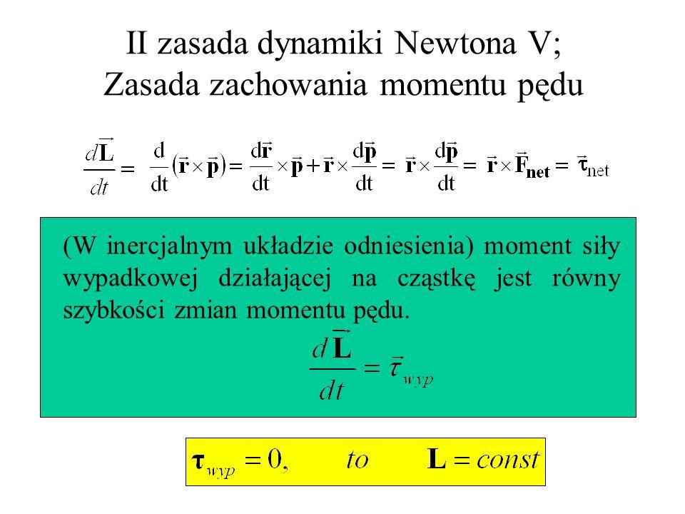 II zasada dynamiki Newtona V; Zasada zachowania momentu pędu