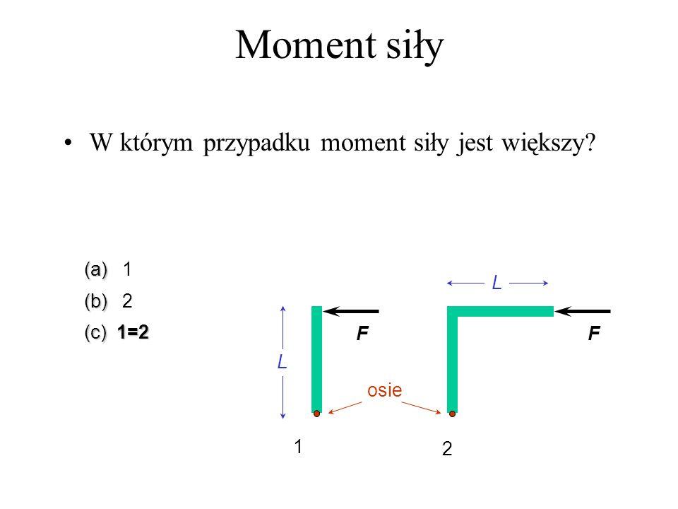 Moment siły W którym przypadku moment siły jest większy (a) 1 (b) 2
