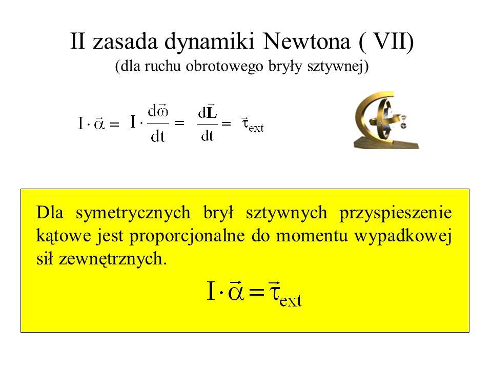 II zasada dynamiki Newtona ( VII) (dla ruchu obrotowego bryły sztywnej)