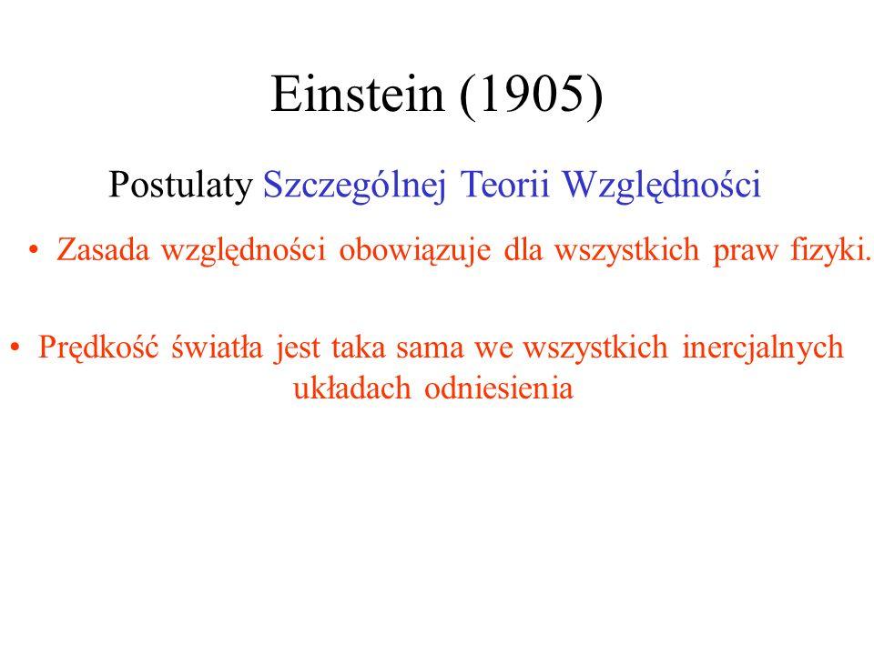 Einstein (1905) Postulaty Szczególnej Teorii Względności