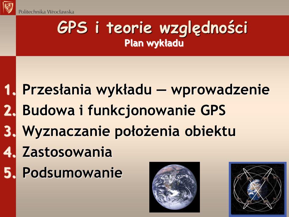 GPS i teorie względności Plan wykładu
