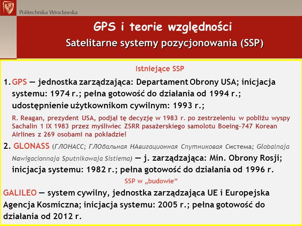 GPS i teorie względności Satelitarne systemy pozycjonowania (SSP)