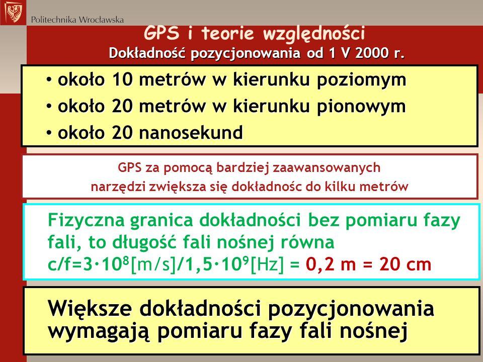 GPS i teorie względności Dokładność pozycjonowania od 1 V 2000 r.