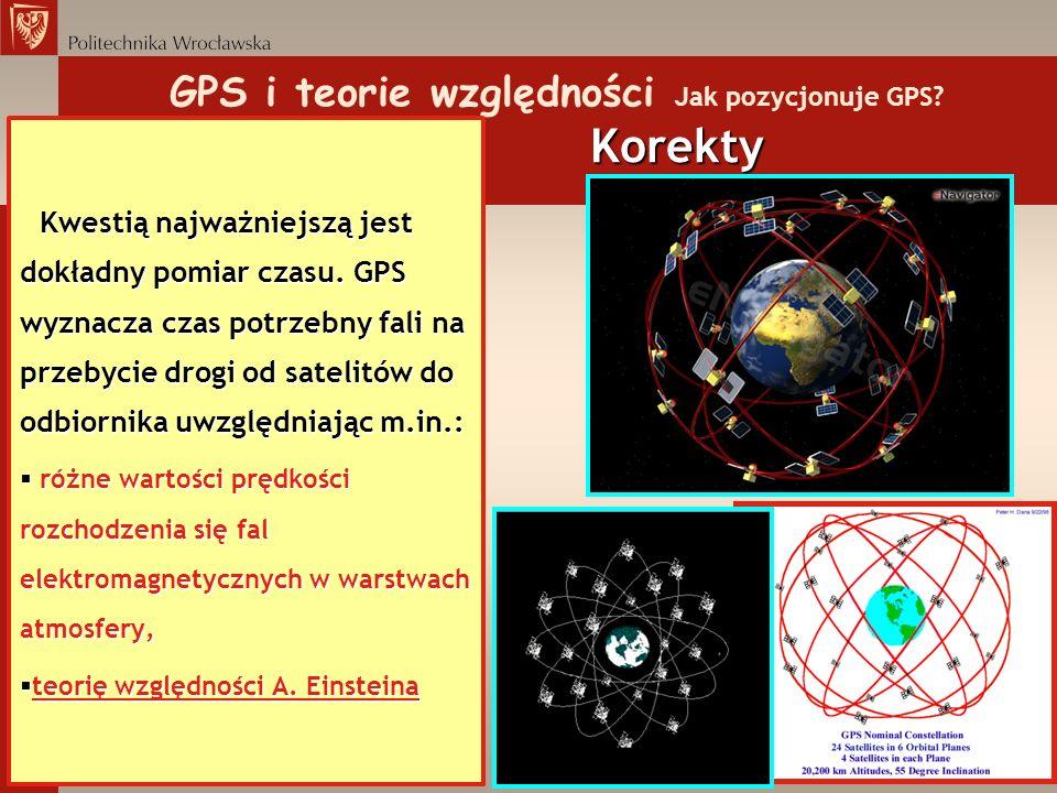 GPS i teorie względności Jak pozycjonuje GPS Korekty