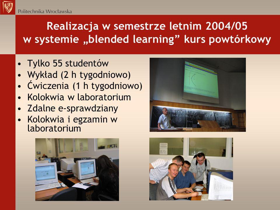 """Realizacja w semestrze letnim 2004/05 w systemie """"blended learning kurs powtórkowy"""