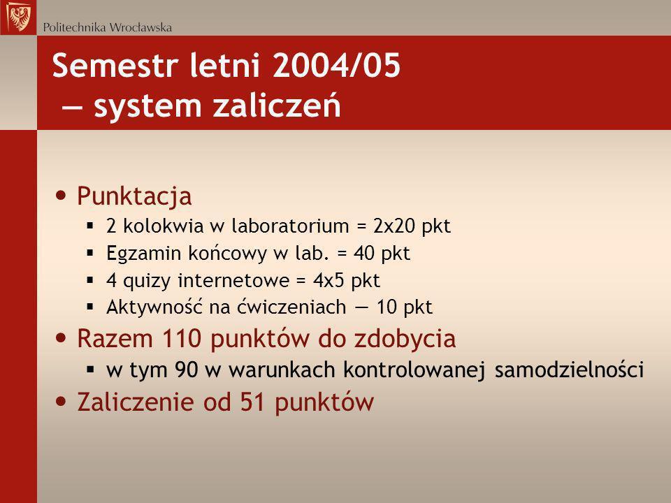 Semestr letni 2004/05 — system zaliczeń