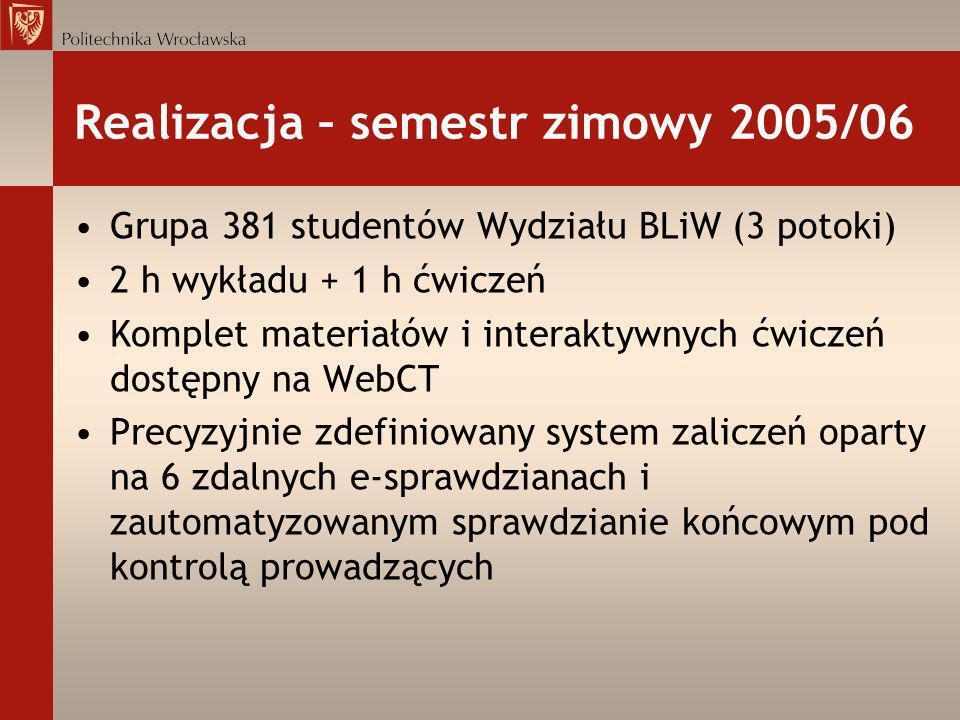 Realizacja – semestr zimowy 2005/06