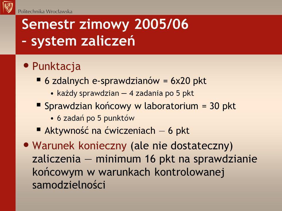 Semestr zimowy 2005/06 – system zaliczeń