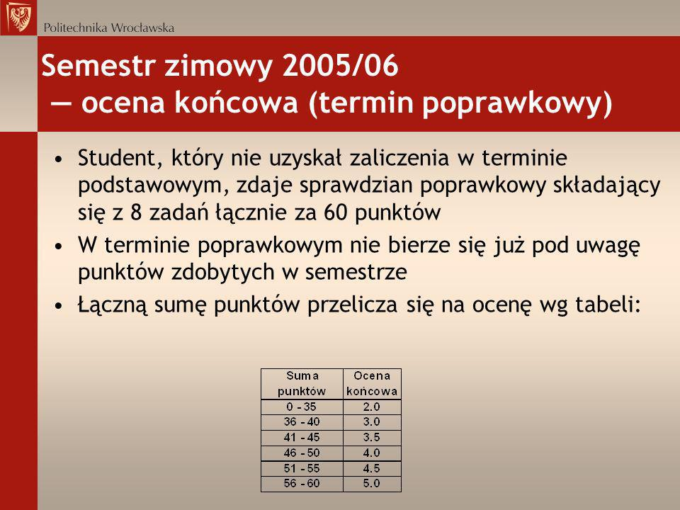 Semestr zimowy 2005/06 — ocena końcowa (termin poprawkowy)
