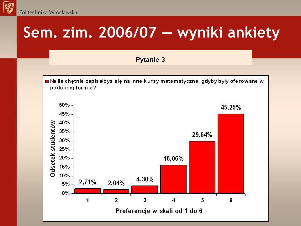 Sem. zim. 2006/07 — wyniki ankiety