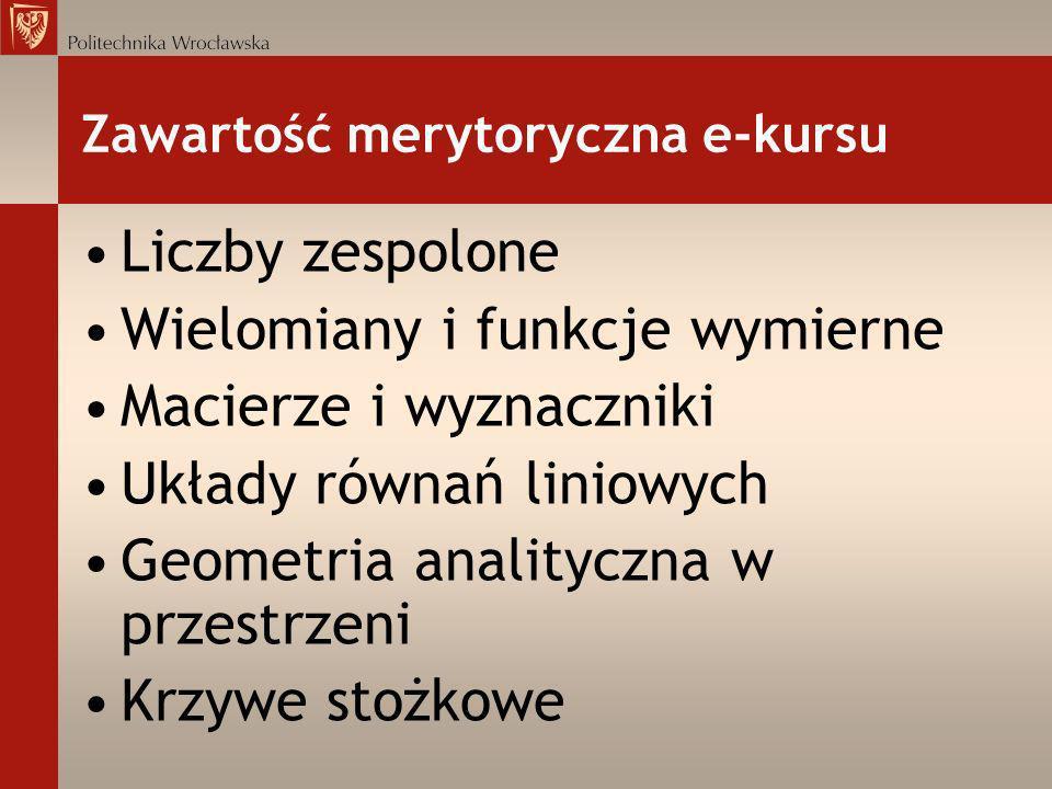 Zawartość merytoryczna e-kursu