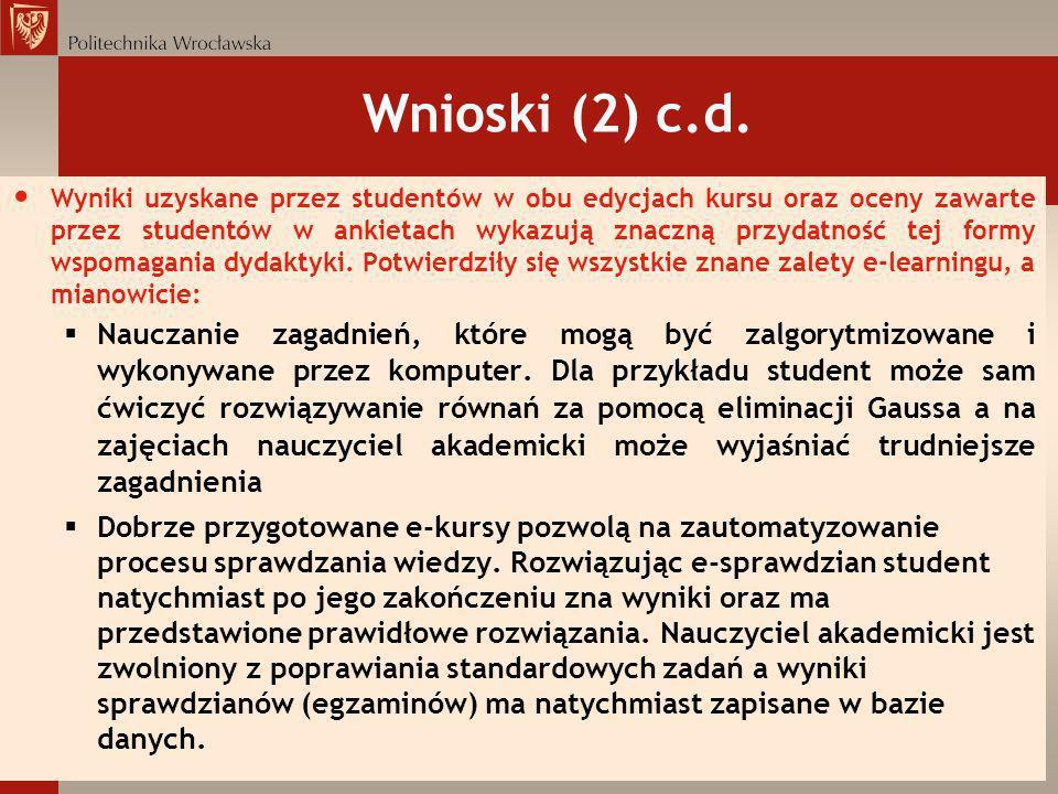 Wnioski (2) c.d.