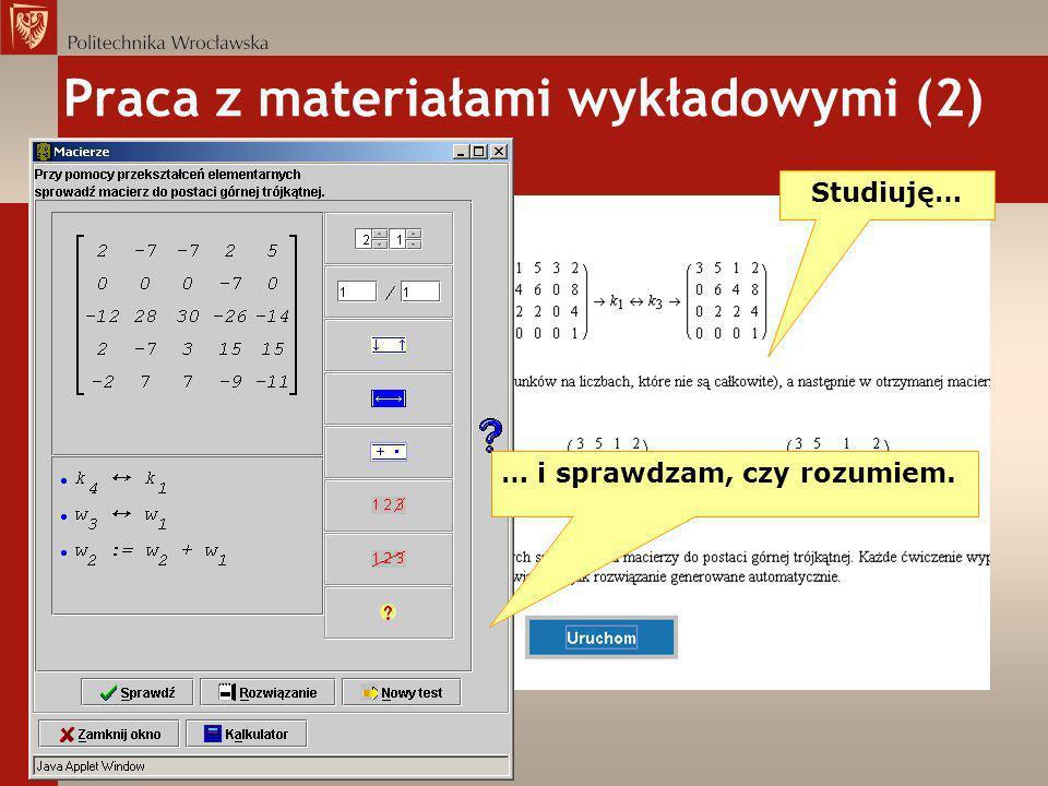 Praca z materiałami wykładowymi (2)