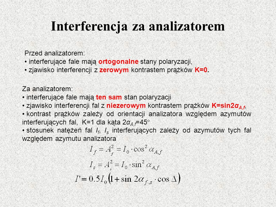 Interferencja za analizatorem