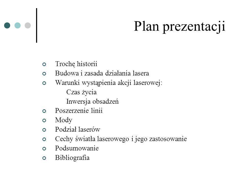 Plan prezentacji Trochę historii Budowa i zasada działania lasera