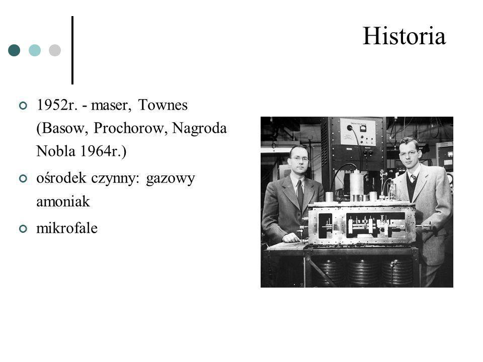 Historia 1952r. - maser, Townes (Basow, Prochorow, Nagroda Nobla 1964r.) ośrodek czynny: gazowy amoniak.