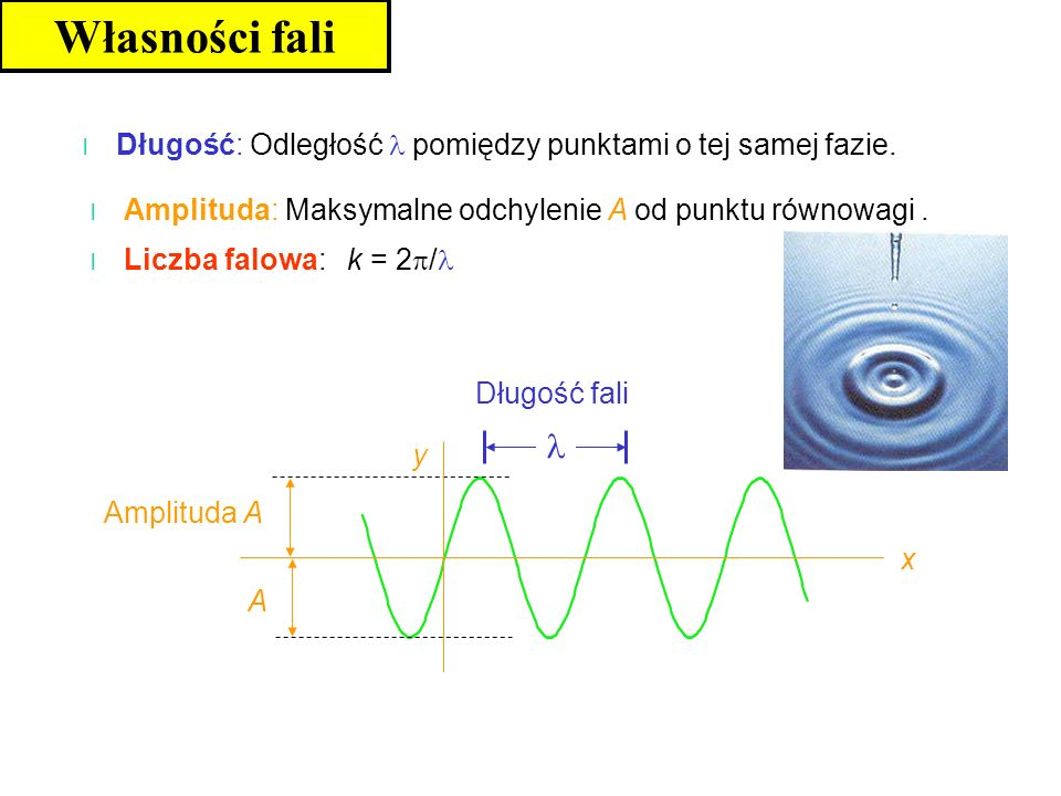 Własności fali Długość: Odległość  pomiędzy punktami o tej samej fazie. Amplituda: Maksymalne odchylenie A od punktu równowagi .