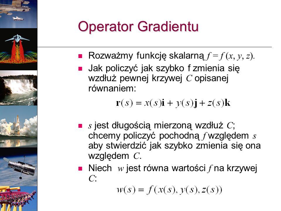 Operator Gradientu Rozważmy funkcję skalarną f = f (x, y, z).