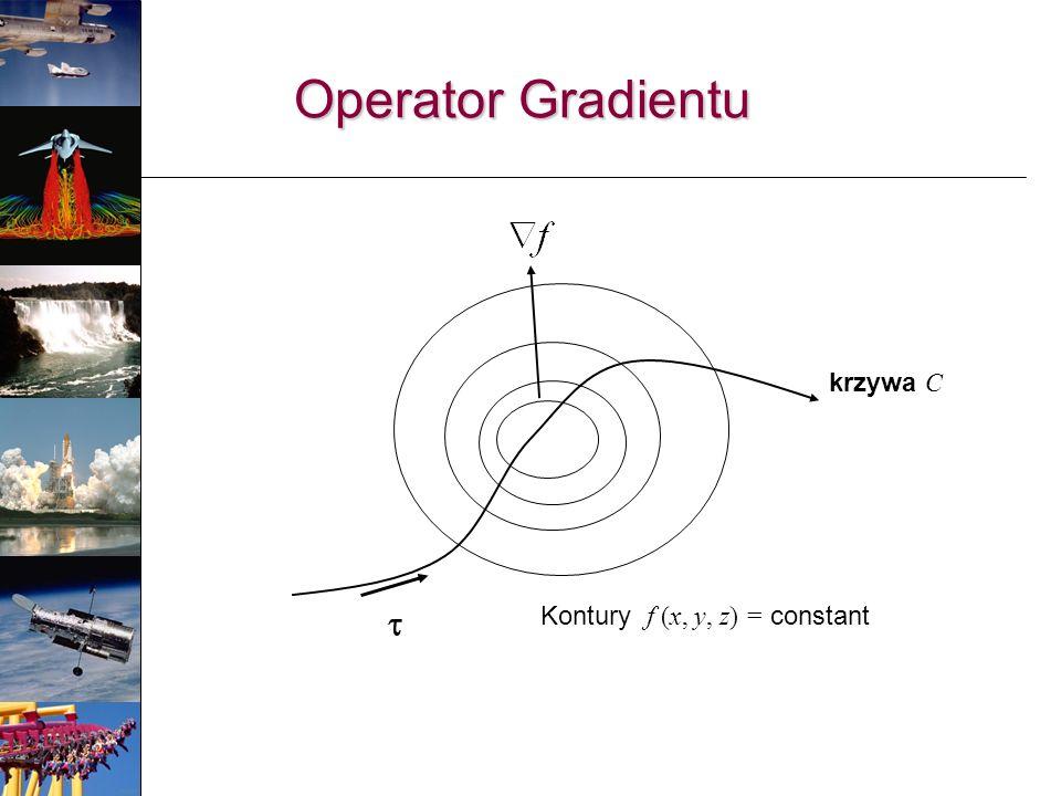 Operator Gradientu krzywa C t Kontury f (x, y, z) = constant