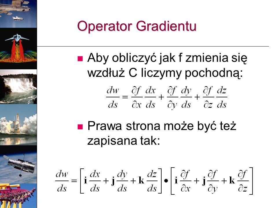 Operator Gradientu Aby obliczyć jak f zmienia się wzdłuż C liczymy pochodną: Prawa strona może być też zapisana tak: