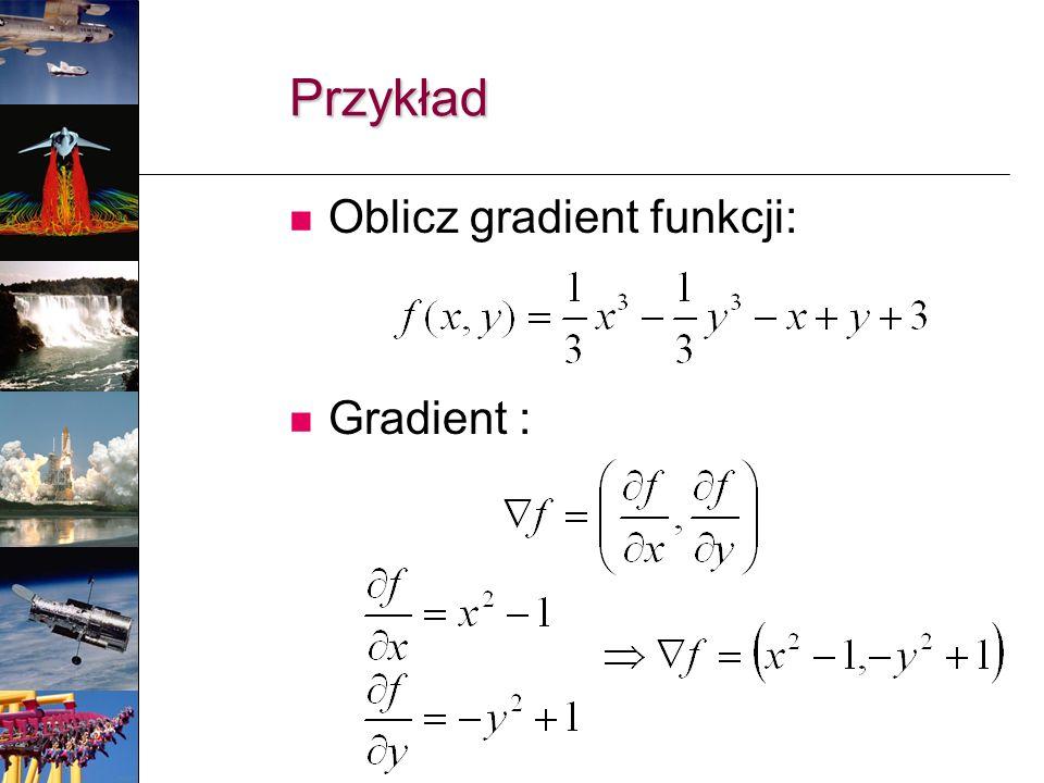 Przykład Oblicz gradient funkcji: Gradient :