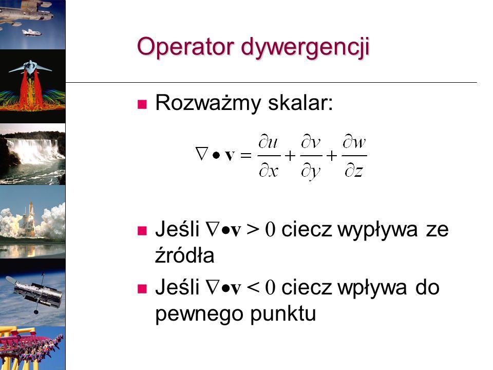Operator dywergencji Rozważmy skalar: