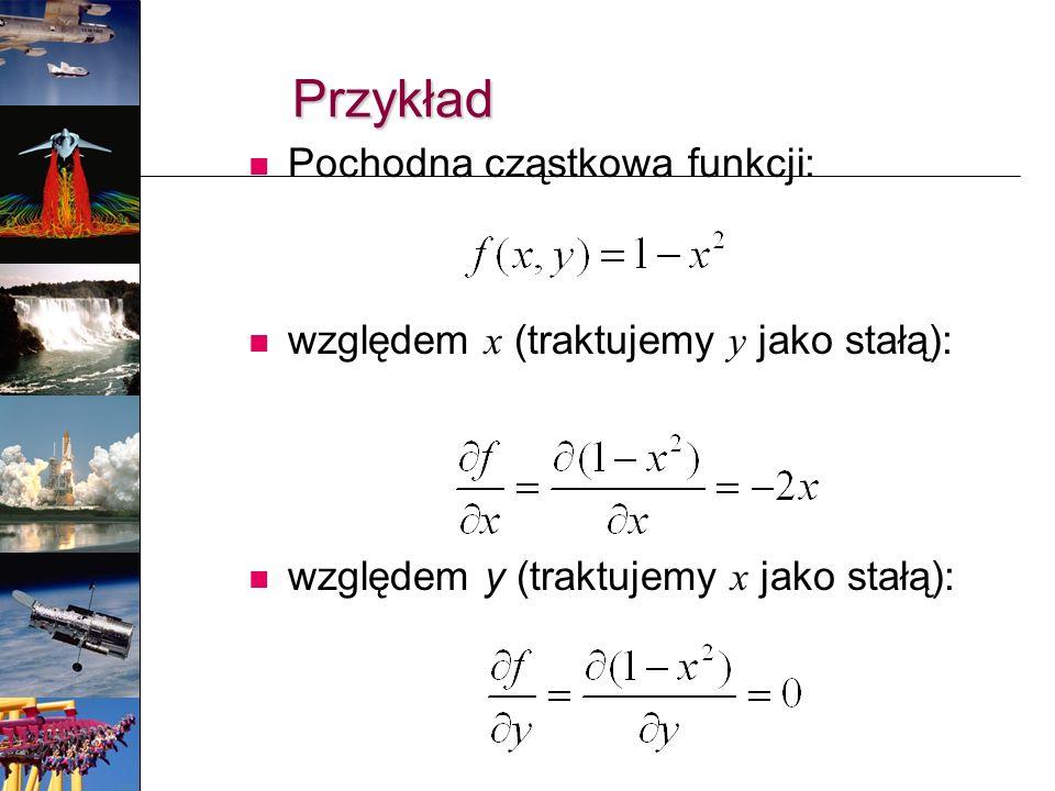 Przykład Pochodna cząstkowa funkcji: