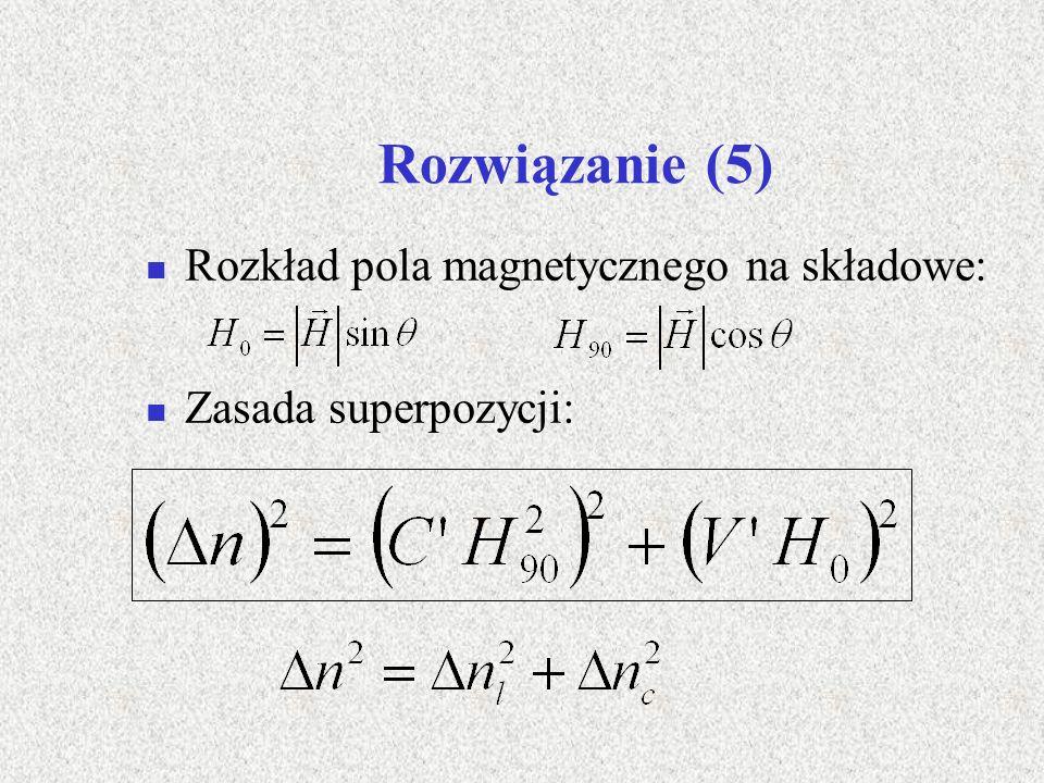 Rozwiązanie (5) Rozkład pola magnetycznego na składowe: