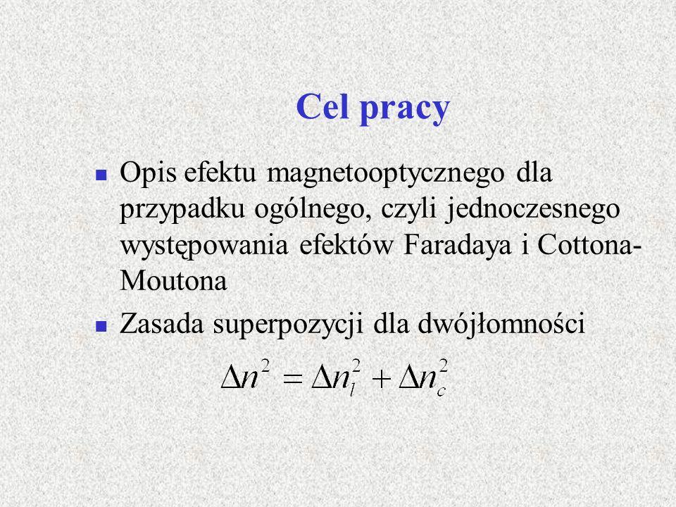 Cel pracy Opis efektu magnetooptycznego dla przypadku ogólnego, czyli jednoczesnego występowania efektów Faradaya i Cottona-Moutona.