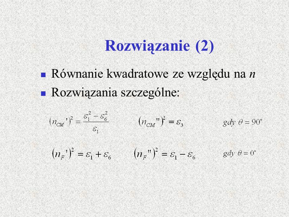 Rozwiązanie (2) Równanie kwadratowe ze względu na n