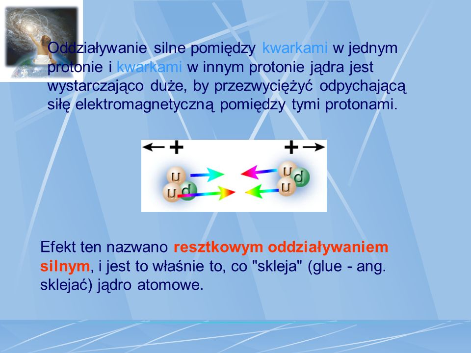 Oddziaływanie silne pomiędzy kwarkami w jednym protonie i kwarkami w innym protonie jądra jest wystarczająco duże, by przezwyciężyć odpychającą siłę elektromagnetyczną pomiędzy tymi protonami.