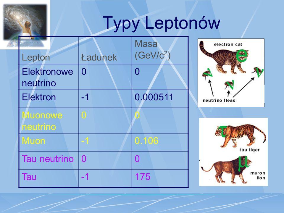 Typy Leptonów Lepton Ładunek Masa (GeV/c2) Elektronowe neutrino