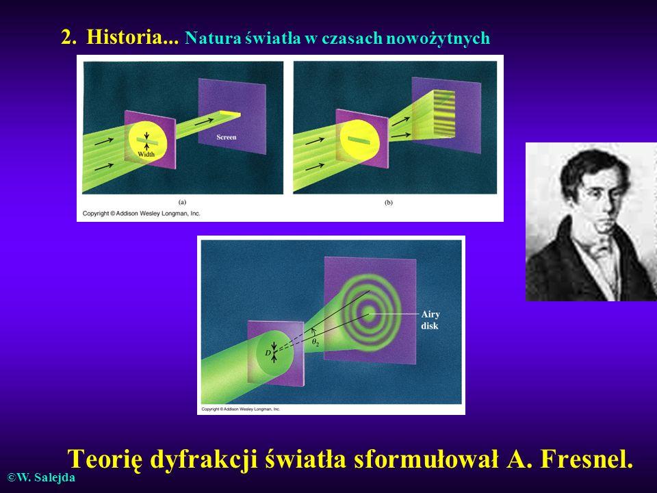 Teorię dyfrakcji światła sformułował A. Fresnel.