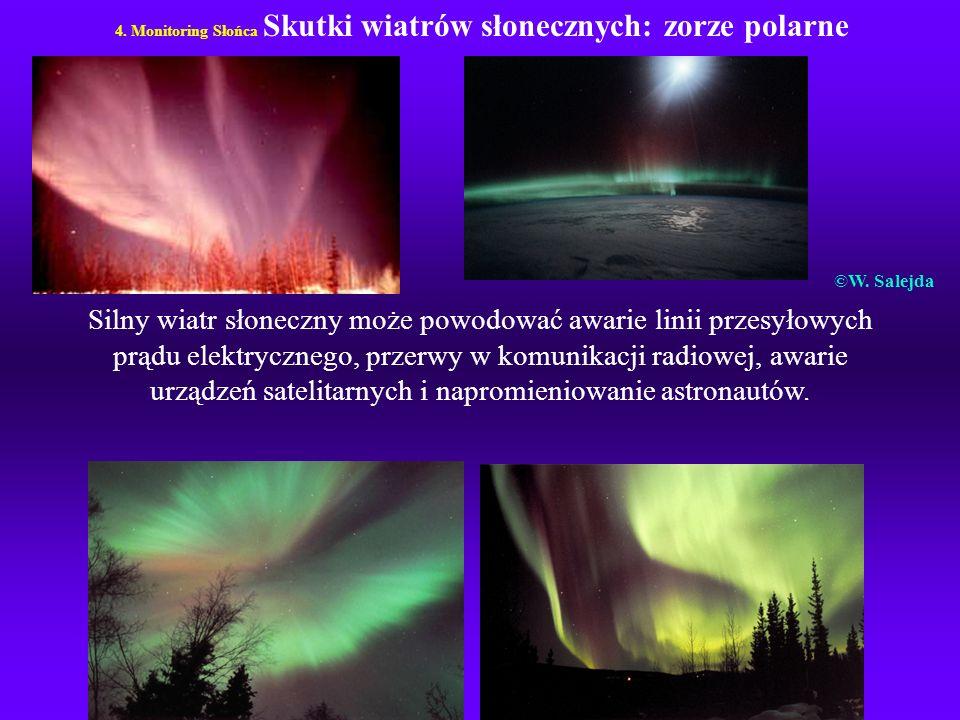 4. Monitoring Słońca Skutki wiatrów słonecznych: zorze polarne